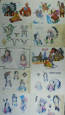 10 vintage shop used tattoo flash designs sheets chiefs NOT MACHINE