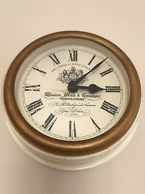 Laura Ashley Small Wall Clock, Cream/ Gold Colour, Used, Perfect Working Order