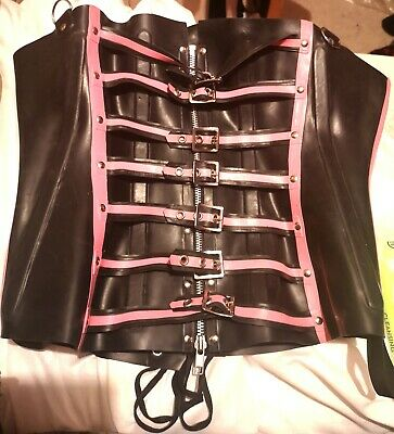 R1187 bicolor  Rubber Latex Fetish CORSET Westward Bound 12-16 UK RRP £214.27