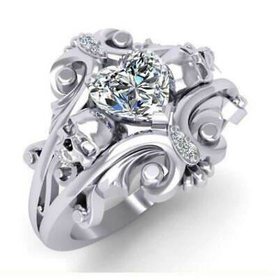 Romantic 925 Silver Wedding Rings Women Heart Shaped White Sapphire Ring Size 6