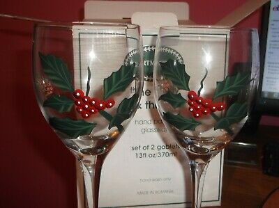 Portmeirion The Holly & The Ivy Set Of 2 Glasses Goblets Bew Boxed