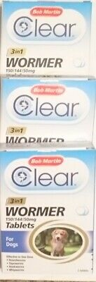 3 x Boxes of BOB MARTIN CLEAR 3 IN 1 DOG WORMER WORMING TABLET 'S
