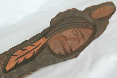 Carved Head / Profile / Face Native American Indian Poss. Squamish Salish Bark