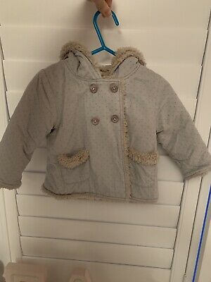 New Without Tags Little White Company Baby Girls Grey Coat With Ears 0-3 Months