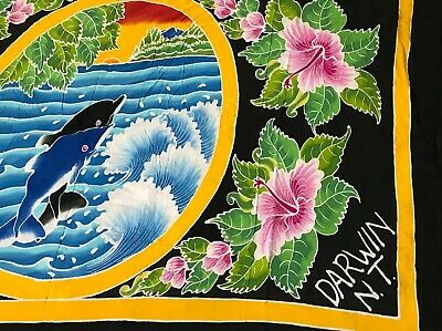 Darwin NT Large Dolphin Scarf Wrap Wall Hanging Decor Exotic Silky Australia A28