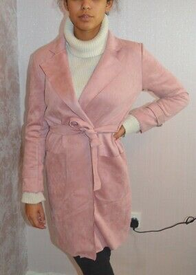Faux Suede Belted Long Trench Coat Baby Pink Cardigan Jacket NEW Celeb 6-14 UK