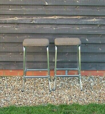 Pair Of Retro Chrome Frame Upholstered Seat Bar Stools