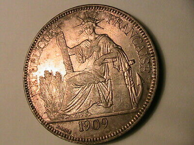 1909 French Indo-China 1 Piastre AU Lustrous Original Vietnam Silver Crown Coin