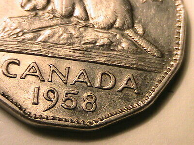 1958 Canada Five Cents Repunched 8/8 Variety Choice AU Canadian Nickel 5 C Coin
