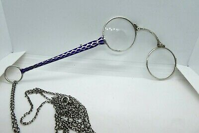 Vintage Lorgnette Silver & Enamel Folding Magnifying or Opera Glasses with Chain