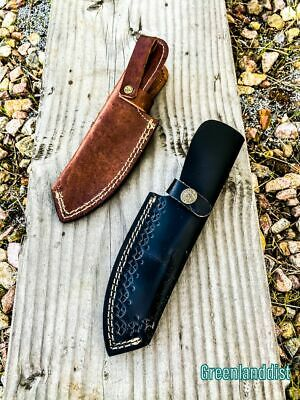 """8.5"""" Handmade Real Leather Sheath Hunting Blade Knife Double Stitched Engraved /"""