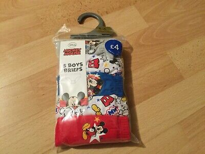 5 pack Boys Childrens Kids Character Underwear Briefs Pants Mickey Mouse BNWT
