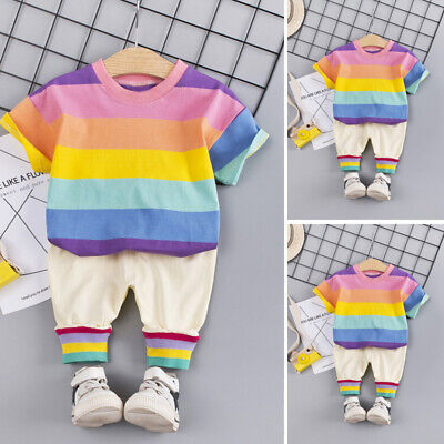 Toddlers Kids outfit Kids 2pcs/Set Lovely Girls Kids outfit Round Neck