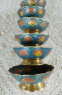 Vintage Enameled Brass Cloisonne Candy/Fruit Dish Set of 6 Hand Painted India