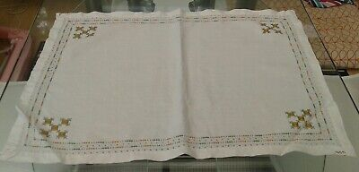 Vintage White Cotton & Hand Embroidered Tray Cloth / Small Tablecloth / Runner