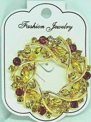 BROOCH wreath fashion jewelry fall colors gift christmas #4 stocking stuffer