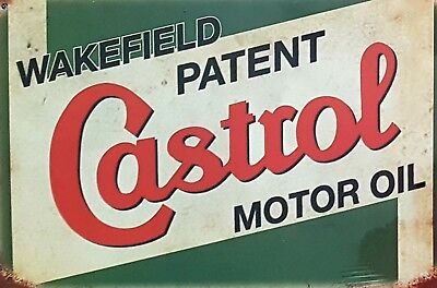 Castrol Wakefield Motor Oil Metal Tin Signs Bar Shed & Man Cave Signs