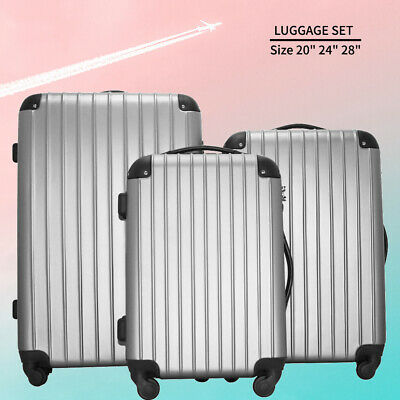 """3In1 Travel Luggage Set ABS Soft Suitcase Spinner Bag w/ TSA Lock 20""""24""""28"""" US"""
