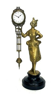 German Style Junghans Brass Barmaid Lady Figure Swinging Swinger Clock