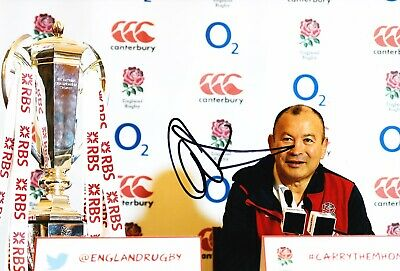 Eddie Jones Signed 12X8 Photo England RUGBY Coach SIX NATIONS AFTAL COA (2190)