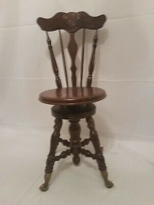 Antique High Back Walnut Glass Ball & Brass Claw Piano Stool Chair Bench
