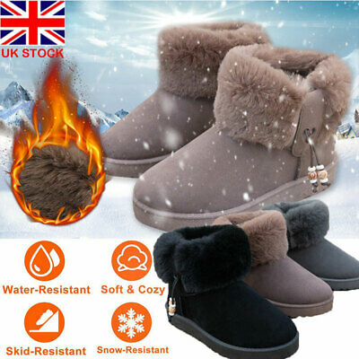 Womens Faux Suede Ankle Boots Ladies Casual Fur Lined Winter Warm Snow Booties