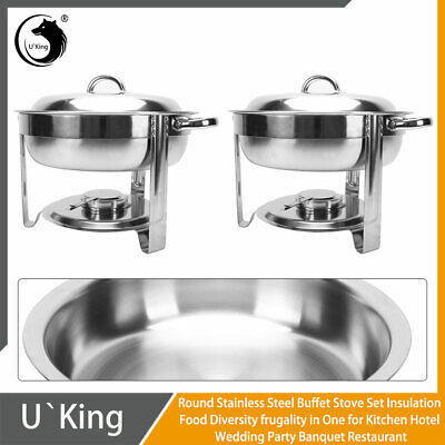 Pack of 2 Round Chafing Dish Buffet Warmer Set With Lid, Silver Accented Chafer