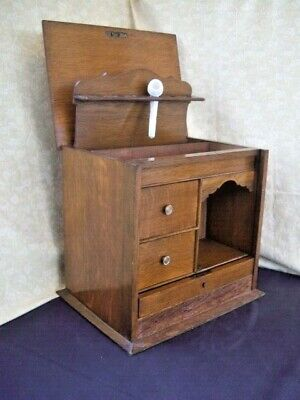 Edwardian Oak Smokers Cabinet With rise & Fall front ~Pipe Rack Drawers & Key