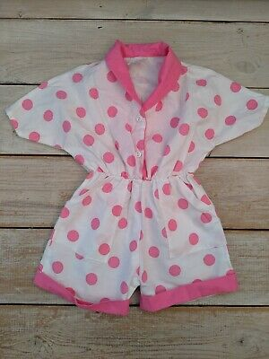 Vintage Retro 1980s Girls Pink Polka Dot All In One Jumpsuit