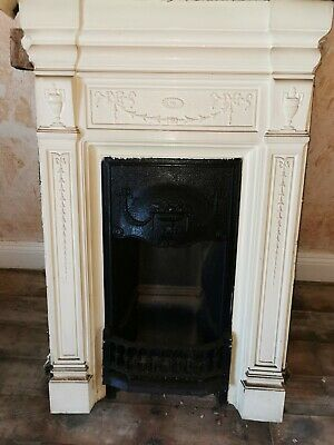 Victorian 1909 Cast iron fireplace Surround Hearth Mantle reclaimed