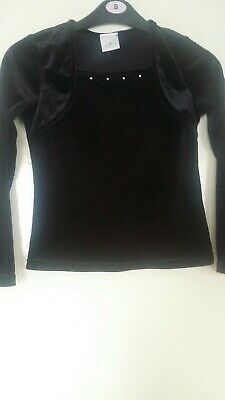 Girls Black Velvet-Type Top With Sequin Trim - Age 8 Yrs - Tesco