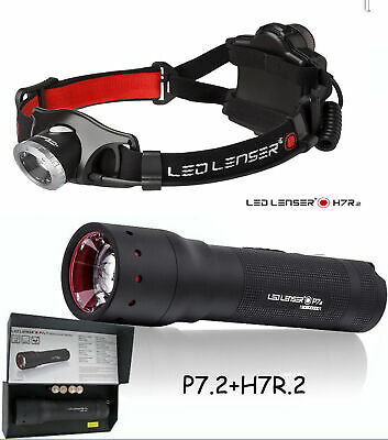 LED LENSER H7R.2 Rechargeable HEAD LAMP TORCH FLASHLIGHT + P7.2 Torch Pack