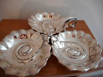 Vintage Silver Plated Trio Serving Tray / Dish W