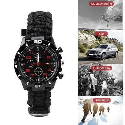 Multi-Function Outdoor Survival Watch Flint Fire Starter Compass Whistle Black
