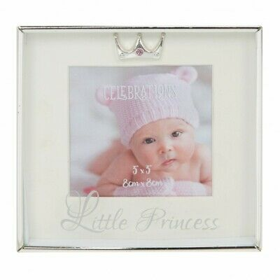 Baby Girls Silver Plated Photo Frame Boxed Gift Princess Crown & Crystal Detail