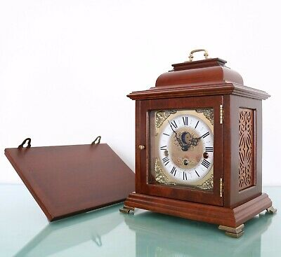 CHRISTIAAN HUYGENS Mantel Clock + Console! Vintage WESTMINSTER! Chime MOONPHASE!