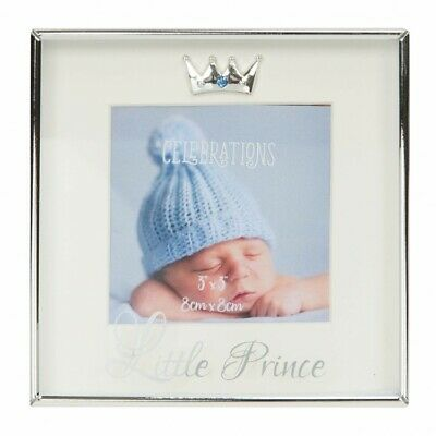 Baby Boys Silver Plated Photo Frame Boxed Gift Prince Crown & Crystal Detail