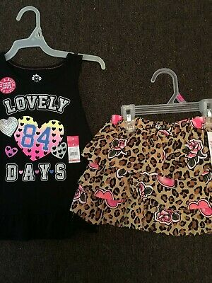 """Girls' Outfit Size 5, Black Tank Top """"LOVELY DAYS"""" / Animal Print Scooter, NWT"""
