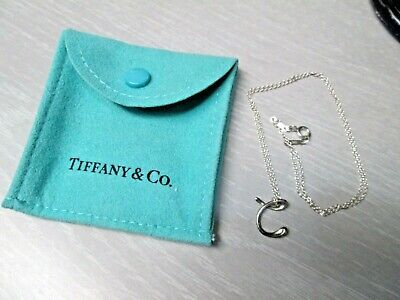 "Tiffany & Co. 925 Sterling Silver Initial Letter ""C"" Pendant Necklace"
