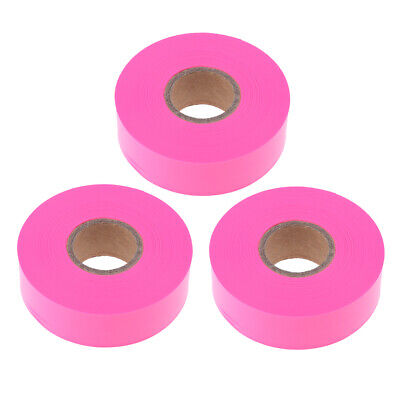 3x Pink Color Hunting Hiking Flagging Trail Marking Tape 45m.L x 10in.W