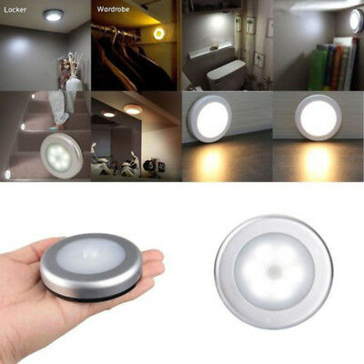 1x Round 6LED Body Motion Sensor Activated Wall Light Ultra-Thin Night Light Top