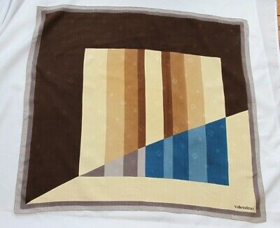 """Vintage Valentino Geometric Square Silk Hand Rolled Scarf 31"""" x 31"""" inches"""