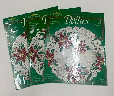 """Lot Of 3 Packs Of 12 Paper Christmas Doilies Poinsettia 8"""" Diameter Royal Lace"""
