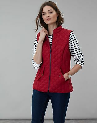 Joules Womens Official Burghley Horse Trials Quilted Gilet Jacket in RED