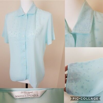 Vntg Look St Michael Blue Paisley Embroided Granny Blouse Top Blogger Size 12
