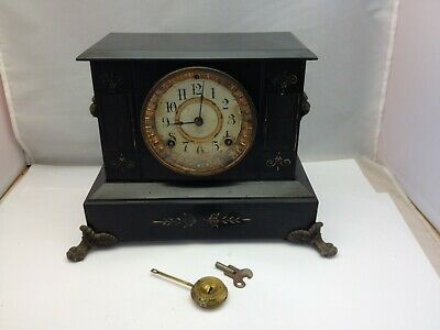 Antique Ansonia BLACK Iron Mantle Clock Lion Head Sides