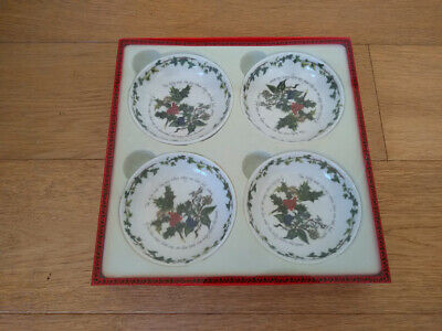 PORTMEIRION set of 4 Christmas dishes THE HOLLY AND THE IVY