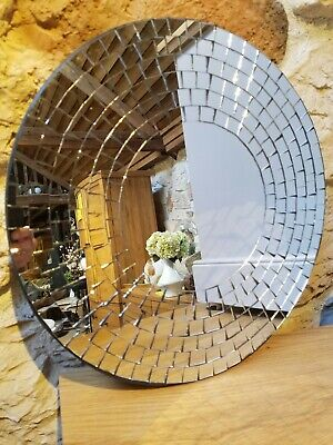 Mosaic Glass Wall Mirror/40cm/Handcrafted/Recycled glass/Round