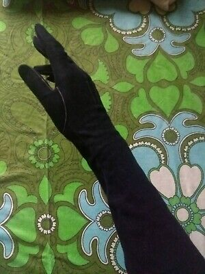 "*Fine Black Suede/Leather Elbow Length Gloves By ""Dents"" 30'S/40'S, Size 7*"