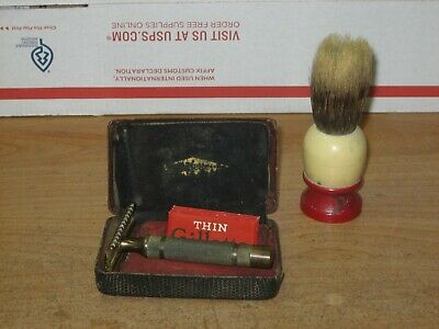 VTG 1930s GILLETTE Gold New Deluxe Open Comb 3pc Safety Razor Reissue Pat.17567